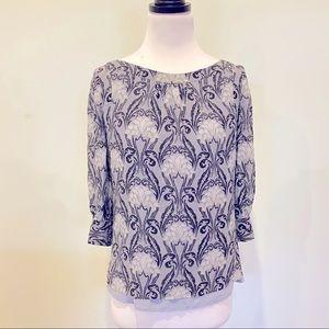 Tory Burch art nouveau print silk blouse top 2/AU6